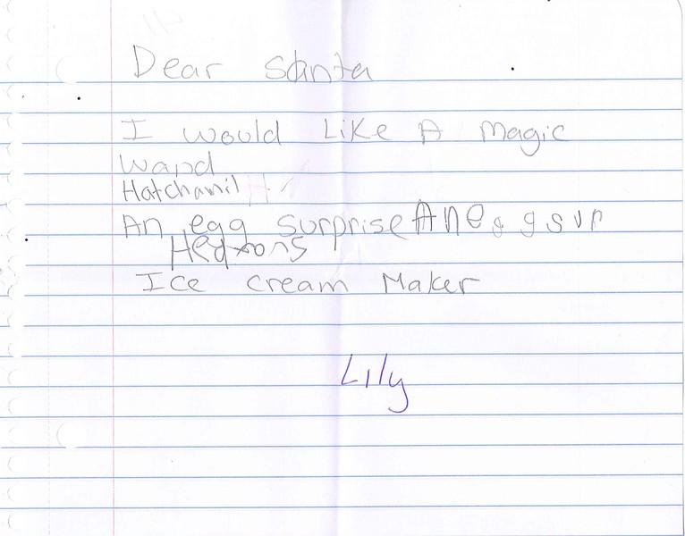 Dear Santa<br /> <br /> I would like a magic wand<br /> Hatchamil<br /> An egg surprise<br /> Ice Cream Maker