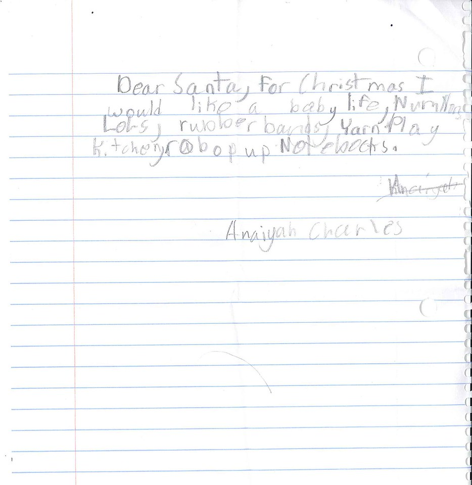 Dear Santa, for Christmas I would like a babyu life, numhob, LOLS, rubberbands, yarn play kitchen , robop up Notebooks.<br /> Anaiyah Charles