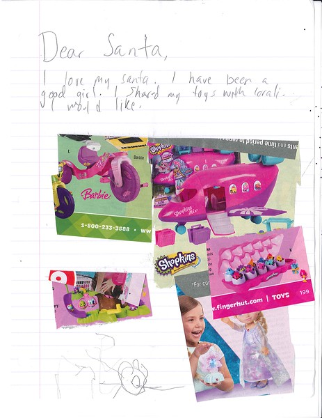 Dear Santa,<br /> I love my Santa. I have been a good girl. I shared my toys with lorali.<br /> I would like:<br /> (pictures of) a Barbie Tricycle, Shopkins Jet, Elsa doll, Hatchimals – CollEGGtibles, and Hatchimals Nursery Playset<br /> (No name, but it's ok. Santa will know)