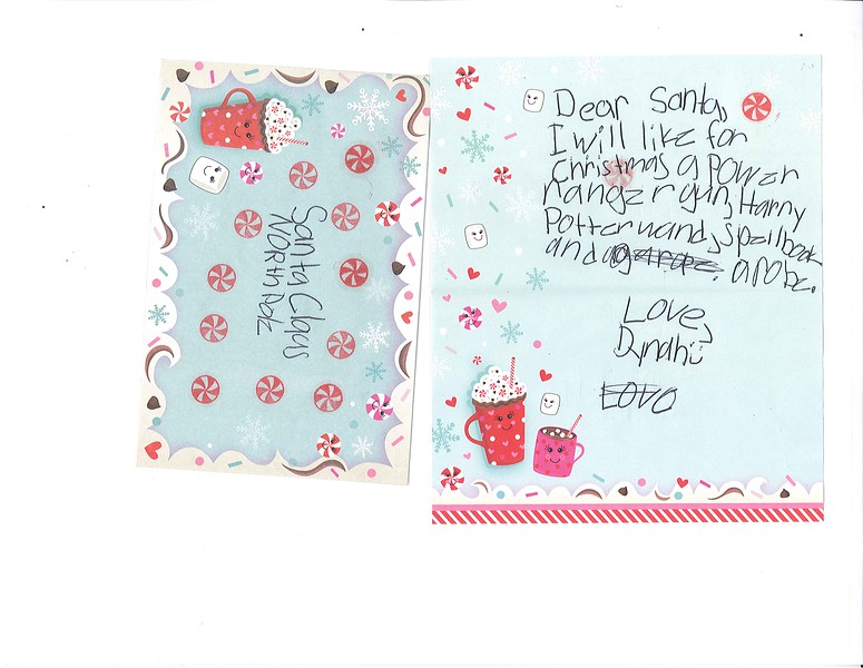 Dear Santa,<br /> I will like for Christmas a power rangzr gun, Harry Potter wand, spellbook, and a robe.<br /> Love, Dynah