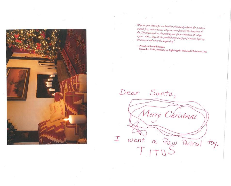 Dear Santa<br /> I want a Paw Patrol Toy<br /> Titus