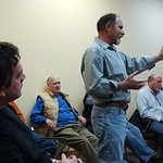 Trustee nominee Thomas Jones, center, describes his love of Berthoud on Mar 6 at the Citizens First meeting.  Attendees listen on around him, from left to right,are Mitchell Tacy, Don Lehn, MarkChaffee, and Mayor Tom Patterson.