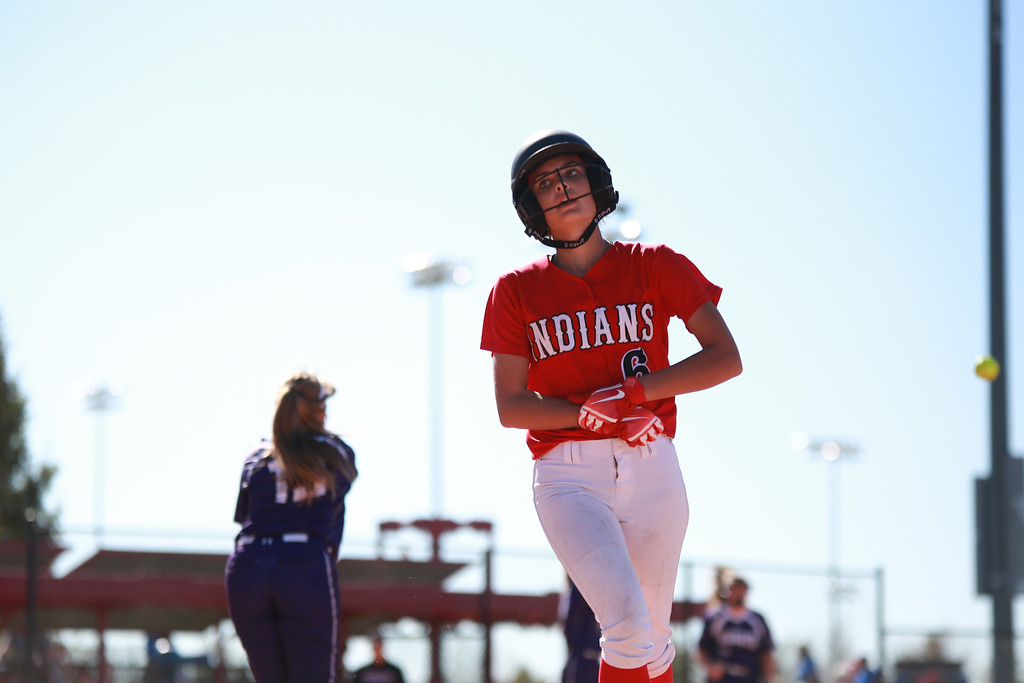 . Loveland�s (6) Kammrie Bakovich finishes her play at the state championships for Colorado high school softball against Arvada West at Aurora Sports Park on Oct. 19, 2018 in Aurora. Photo by Taelyn Livingston/ Loveland Reporter-Herald