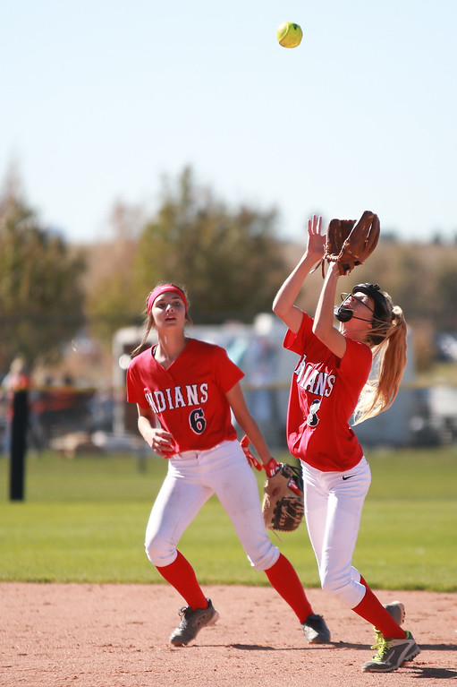 . Loveland�s (6) Kammrie Bakovich (3) Avery Buhler play the outfield at their game against Arvada West at the state championships for Colorado high school softball at Aurora Sports Park on Oct. 19, 2018 in Aurora. Photo by Taelyn Livingston/ Loveland Reporter-Herald
