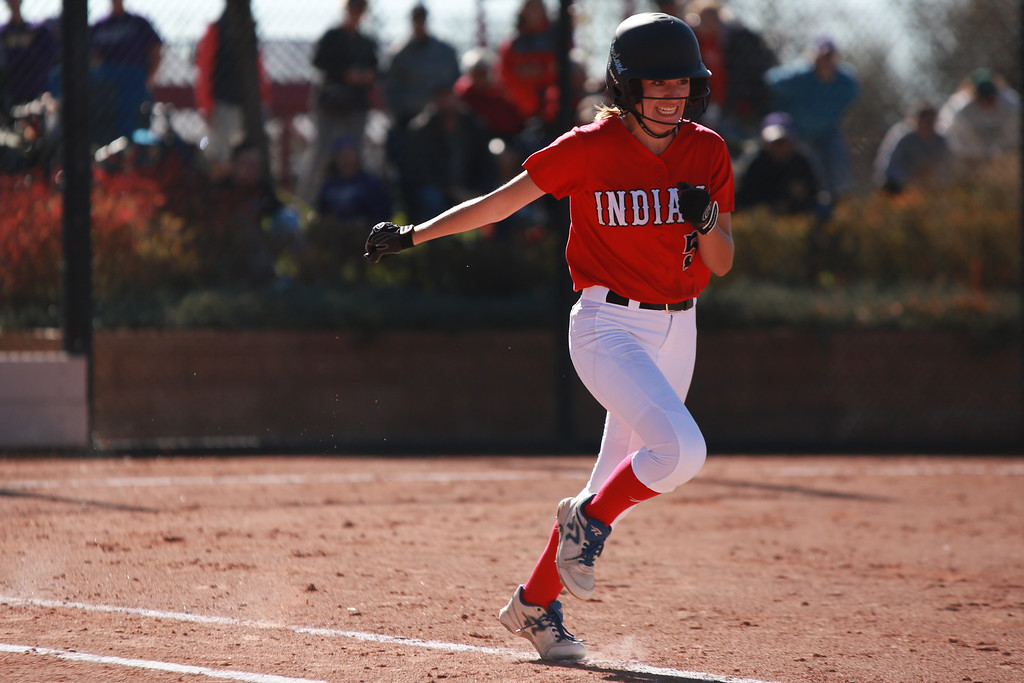 . Loveland�s (5) Jordan Irwin runs to first base at their game against Arvada West at the state championships for high school softball at Aurora Sports Park on Oct. 19, 2018 in Aurora, Colo. Photo by Taelyn Livingston/ Loveland Reporter-Herald