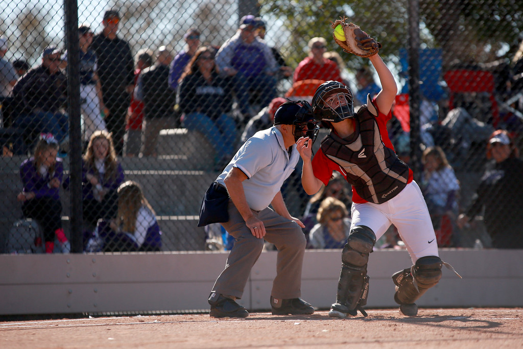 . Loveland�s (2) Elana Gerhard catches a pitch at their match against Arvada West at the state championships for high school softball at Aurora Sports Park on Oct. 19, 2018 in Aurora, Colo. Photo by Taelyn Livingston/ Loveland Reporter-Herald