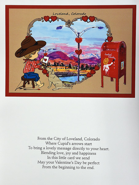 The official 2017 Loveland Valentine Remailing program's card and card verse that were unveiled Tuesday, Jan 3, 2016, at the Loveland Chamber of Commerce. Corry McDowell designed the card and James Duckworth wrote the verse for his late wife.  (Photo by Jenny Sparks/Loveland Reporter-Herald)
