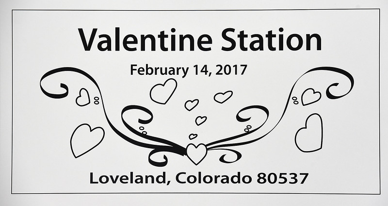 The official 2017 Loveland Valentine Remailing program's cancelation stamp that was unveiled Tuesday, Jan 3, 2016, at the Loveland Chamber of Commerce. (Photo by Jenny Sparks/Loveland Reporter-Herald)