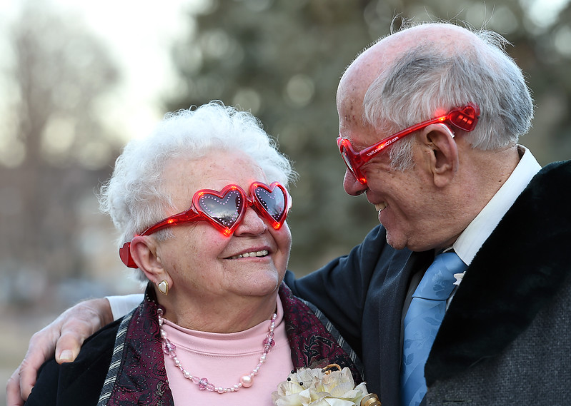 Bob and Irene Cross of Loveland look at each other after renewing their vows after 57 years of marraige Tuesday, Feb. 14, 2017, during Loveland's first Valentine's Day group wedding at Foote Lagoon downtown.   (Photo by Jenny Sparks/Loveland Reporter-Herald)