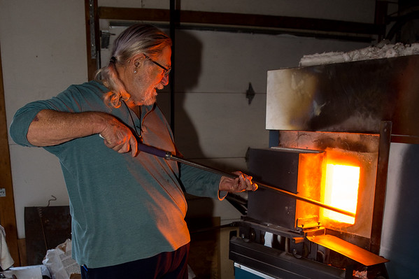 Dan Daggett at work  in his studio, Daggett Glass Studio in Loveland, Colorado. Photos from a photo shoot for Loveland and South Magazine on December 18, 2019.