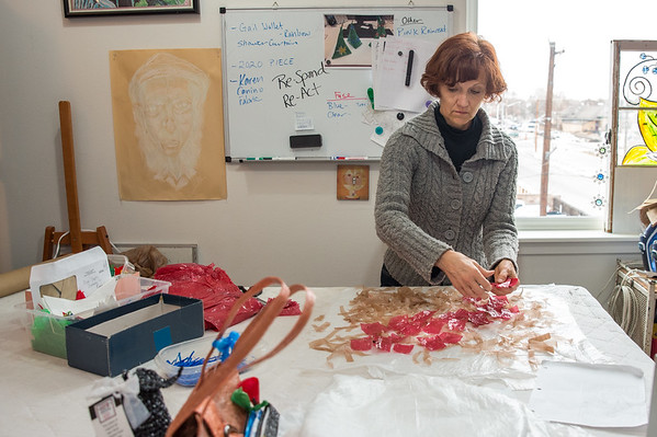 Heather Fortin Rubald at work in her studio, HFR Designs, in Loveland, Colorado. Shot for Loveland and South Magazine on December 23, 2019.