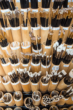 Some of paint brushes for sale at Schissler Academy of Fine Arts in Loveland, CO.  Photos from a photo shoot for Loveland and South Magazine on December 18, 2019.