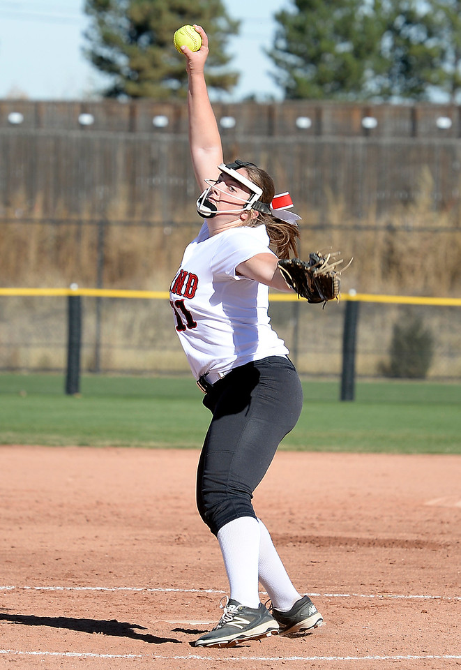 Loveland High School's #11 Abby Lukkes pitches the ball during their game against Ralston Valley at the 5A State Softball championships at the Aurora Sports Park on Friday, Oct. 21, 2016. (Photo by Jenny Sparks/Loveland Reporter-Herald)