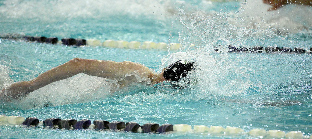 . Loveland\'s Ashton Lyon swims the freestyle portion of the 200-yard individual medley during the Front Range League Championships on Saturday at Mountain View Aquatics Center. (Mike Brohard/Loveland Reporter-Herald)
