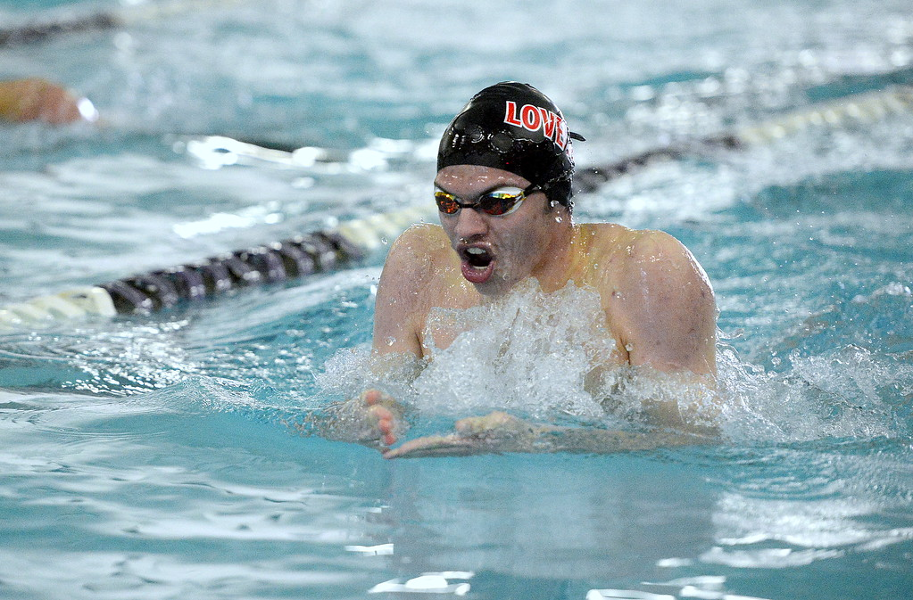 . Ashton Lyon of Loveland competes in th 100-yard breaststroke the Front Range League Championships on Saturday at Mountain View Aquatics Center. (Mike Brohard/Loveland Reporter-Herald)