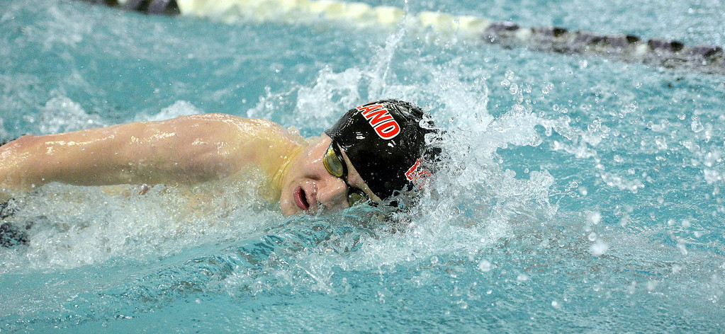 . Danny Turner of Loveland does the freestyle portion of the 200-yard invidual medley during the Front Range League Championships on Saturday at Mountain View Aquatics Center. (Mike Brohard/Loveland Reporter-Herald)