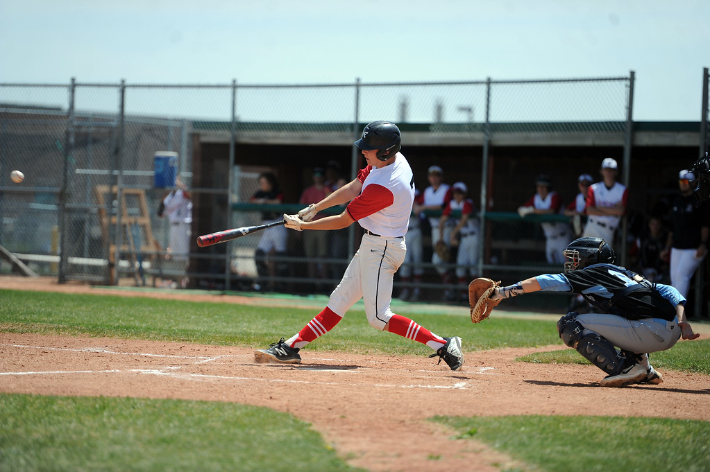 . Zach Harstad plates two runs with a triple against Greely West on Saturday, May 4. The Indians won 6-1 on senior day. (Colin Barnard/Loveland Reporter-Herald)