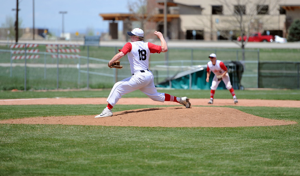 . Kyle Irwin throws a pitch against Greely West on Saturday, May 4. The Indians won 6-1 on senior day. (Colin Barnard/Loveland Reporter-Herald)