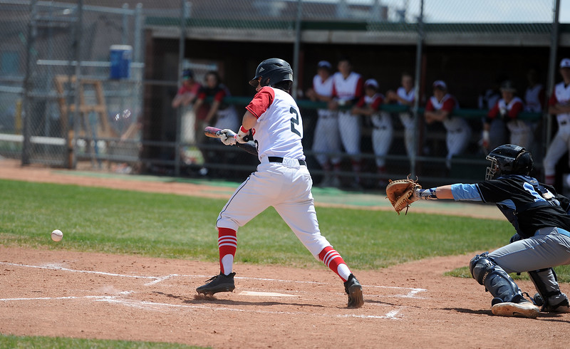 Drew Massey bunts for a base hit during the second inning against Greely West on Saturday, May 4. The Indians won 6-1 on senior day. (Colin Barnard/Loveland Reporter-Herald)