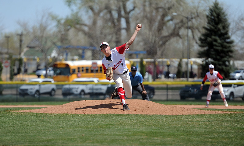 Zach Harstad releases a pitch against Greely West on Saturday, May 4. The Indians won 6-1 on senior day. (Colin Barnard/Loveland Reporter-Herald)