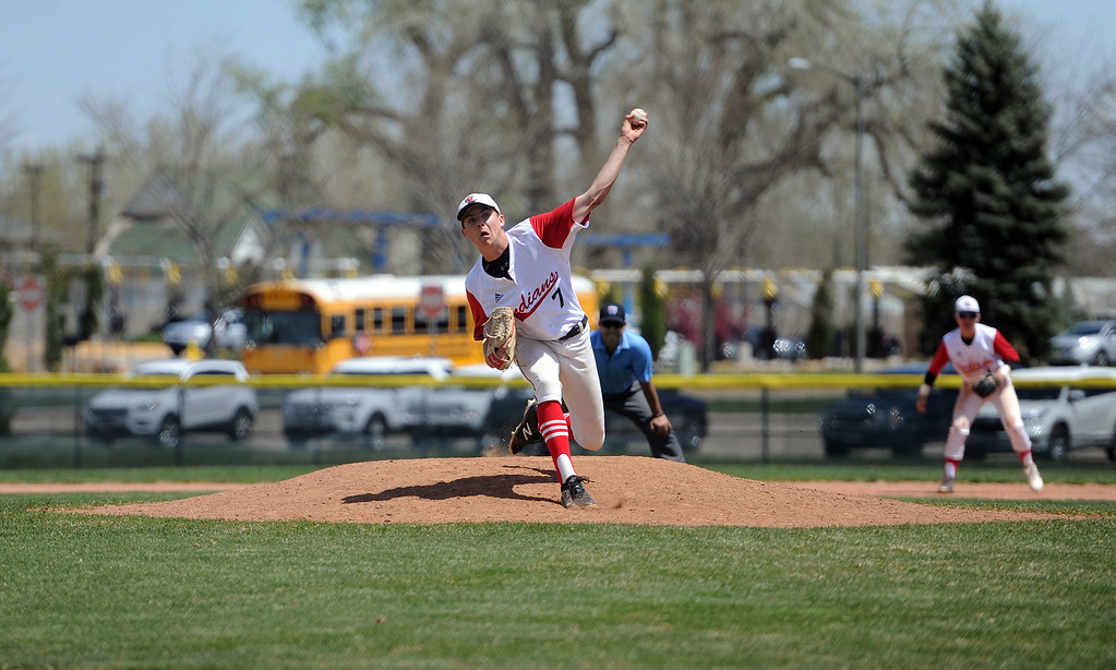. Zach Harstad releases a pitch against Greely West on Saturday, May 4. The Indians won 6-1 on senior day. (Colin Barnard/Loveland Reporter-Herald)