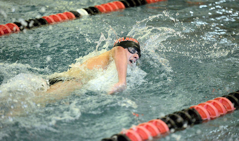 Indiana Steving takes a breath during the 200-yard freestyle in Tuesday's dual with Fort Collins at the LHS pool. Steving would later hit a state cut in the 100 butterfly. (Mike Brohard/Reporter-Herald).