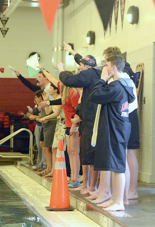 Loveland team members and coaches cheer on their entrants of the 200-yard individual medley during Tuesday's dual meet with Fort Collins at the LHS pool. (Mike Brohard/Reporter-Herald).