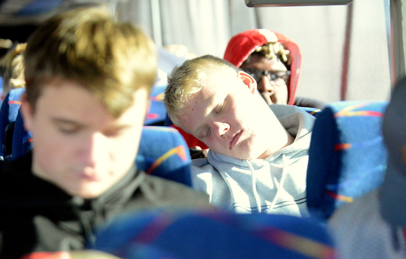 Sleep was the choise of Josh Sharpes to help pass the time on the early part of the trip to Montrose. (Mike Brohard/Loveland Reporter-Herald)