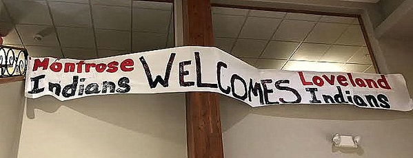 This banner greeted the Loveland football team as they checked into their hotel in Montrose on Friday. (Mike Brohard/Loveland Reporter-Herald)