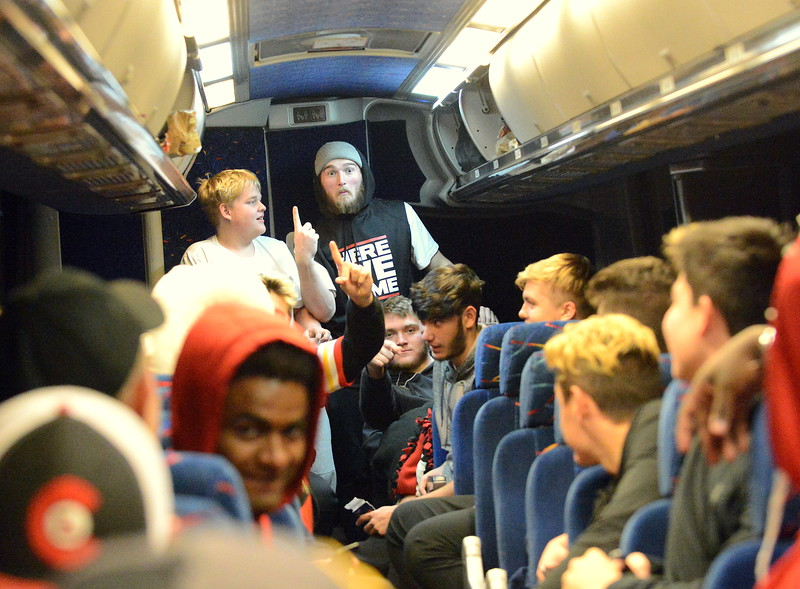 After dinner, and finally being at their destination, the Loveland football team was a little more lively after spending more than seven hours on the bus on their way to Montrose for Saturday's 4A state semifinal game. (Mike Brohard/Loveland Reporter-Herald)