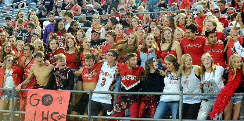 Loveland's crowd sways during a cheer at halftime of Thursday's 4A matchup of the No. 2 Indians and No. 3 Broomfield Eagles. (Mike Brohard/Loveland Reporter-Herald)