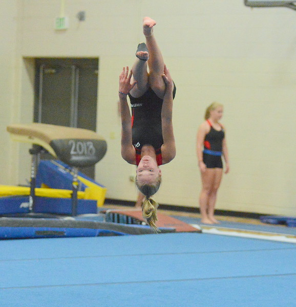 Silje Haehre works on her tumbling pass at practcie. (Mike Brohard/Loveland Reporter-Herald)