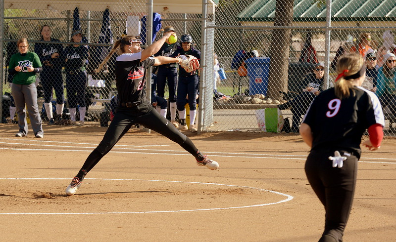 Loveland pitcher Laurin Krings delivers an offering in Saturday's 5A Region 4 tournament opening game with Pine Creek on Saturday at the Barnes Complex in Loveland. The Indians won 9-2. (Mike Brohard/Loveland Reporter-Herald)