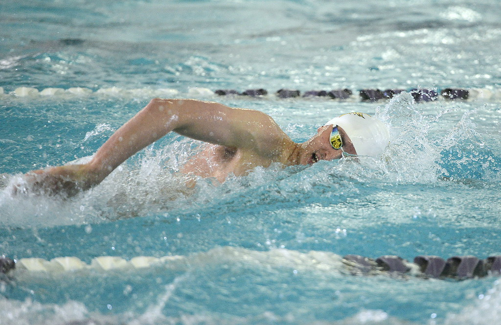 . Thompson Valley\'s Liam Gately cuts through the water on his way to a Northern Conference record of 4:34.15 at Saturday\'s championship meet. Gately was named the conference swimmer of the year.  (Photo by Mike Brohard/Loveland Reporter-Herald)