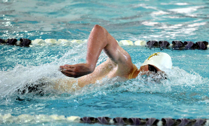 Thompson Valley's Chris Eddy breathes during the 200-yard freestyle final of the Northern Conference championships on Saturday. Eddy was the only two-event winner on the day, adding the 100 breaststroke title later.  (Photo by Mike Brohard/Loveland Reporter-Herald)