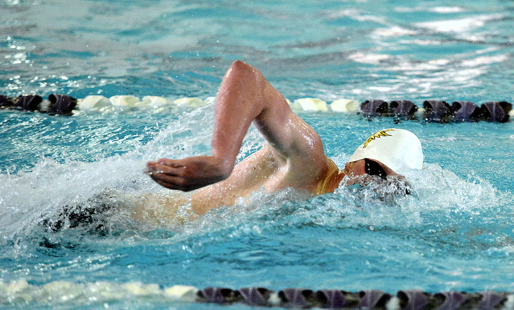 . Thompson Valley\'s Chris Eddy breathes during the 200-yard freestyle final of the Northern Conference championships on Saturday. Eddy was the only two-event winner on the day, adding the 100 breaststroke title later.  (Photo by Mike Brohard/Loveland Reporter-Herald)