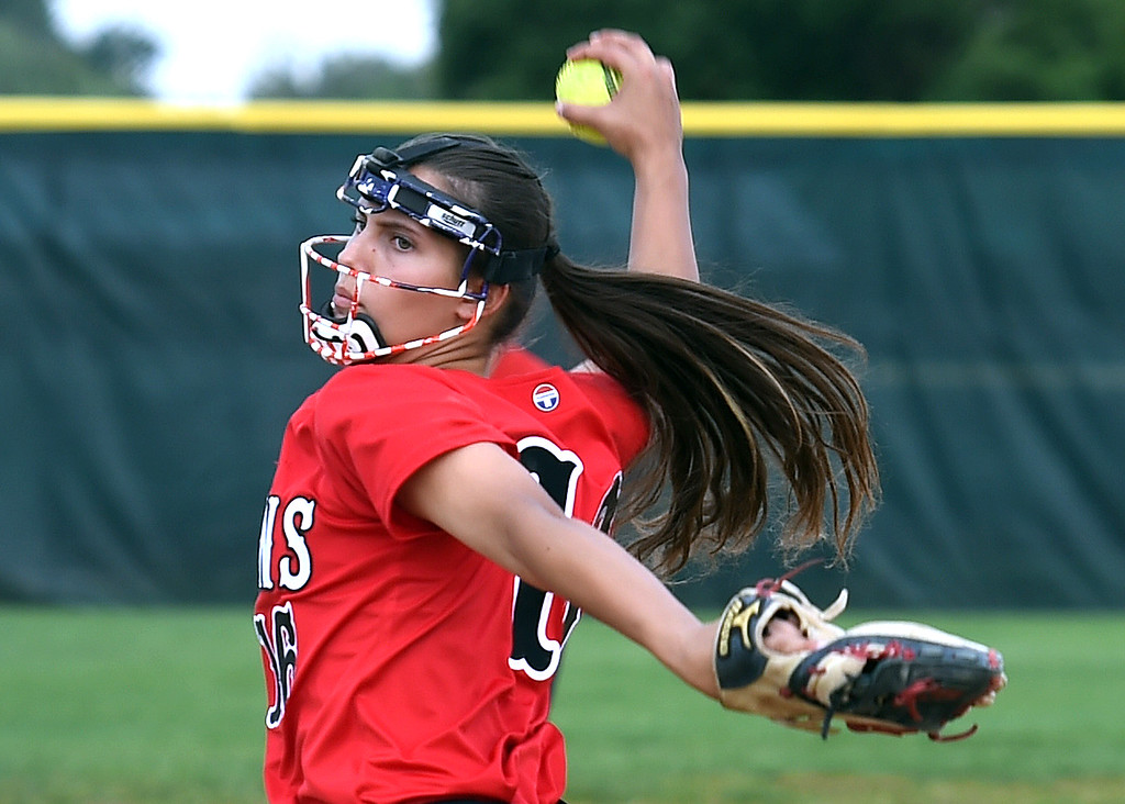 . Loveland High\'s (16) Kaurin Krings pitches the ball Tuesday, Aug. 29, 2017, during their game against Boulder High at Centennial Park in Loveland. (Photo by Jenny Sparks/Loveland Reporter-Herald)