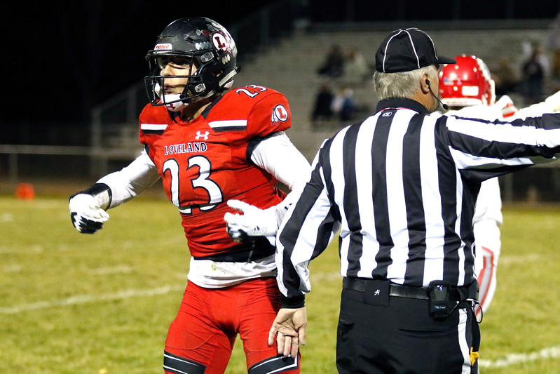 Loveland's Caleb Smith (23) gets upset with the referee's call against him for holding on Thursday, Oct. 26, 2017, at Patterson Stadium in Loveland. (Lauren Cordova/Loveland Reporter-Herald)