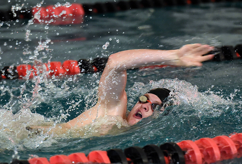 Loveland's Danny Turner swims the 400 freestyle relay Tuesday, March 21, 2017, during their meet against Fairview at Loveland High School. (Photo by Jenny Sparks/Loveland Reporter-Herald)