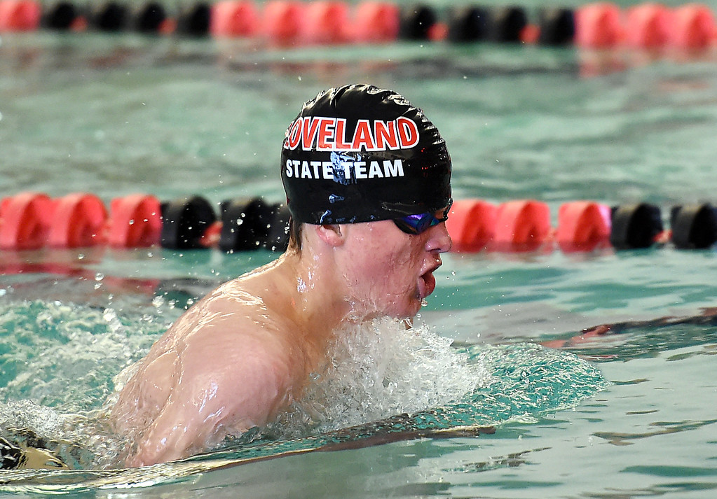 . Loveland\'s Gavin Quinlan swims the 200 yard individual medley Tuesday, March 21, 2017, during their meet against Fairview at Loveland High School. (Photo by Jenny Sparks/Loveland Reporter-Herald)