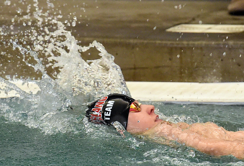 Jake Borrman 100 backstroke<br /> Loveland's Jake Borrman swims the 100 yard backstroke Tuesday, March 21, 2017, during their meet against Fairview at Loveland High School. (Photo by Jenny Sparks/Loveland Reporter-Herald)