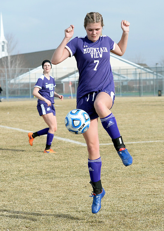 . Mountain View\'s Calli Wilson handles the ball during their soccer game against Loveland Tuesday, March 12, 2019, at Mountain View High School in Loveland.  (Photo by Jenny Sparks/Loveland Reporter-Herald)