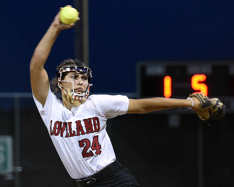 Loveland's (24) Lauren Krings pitches the ball during their game against Mountain View Friday, Aug, 24, 2018, at Centennial Field in Loveland.  (Photo by Jenny Sparks/Loveland Reporter-Herald)