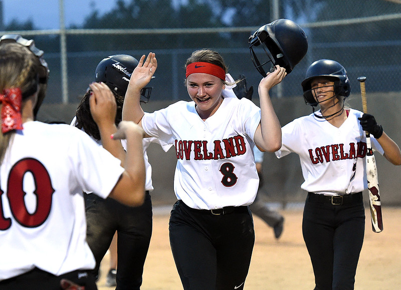 Loveland's (8) Bailey Cocke celebrates after scoring during their game against Mountain View Friday, Aug, 24, 2018, at Centennial Field in Loveland.  (Photo by Jenny Sparks/Loveland Reporter-Herald)