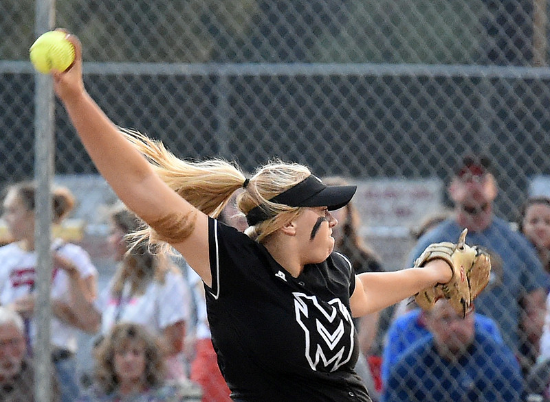 Mountain View's (10) Bailey Carlson pitches the ball during their game against Loveland Friday, Aug, 24, 2018, at Centennial Field in Loveland.  (Photo by Jenny Sparks/Loveland Reporter-Herald)
