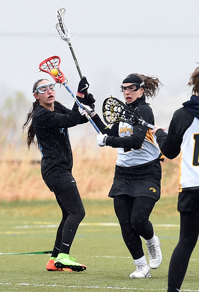 Thompson Valley's #23 Logan Derock looks to pass as Pueblo West's #10  Brianna Fischer tries to block during their game Tuesday, March 28, 2017, at Loveland Sport Park in Loveland. (Photo by Jenny Sparks/Loveland Reporter-Herald)