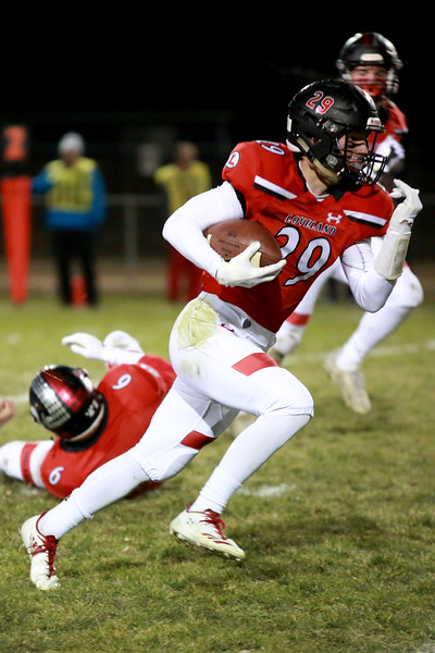Loveland's (29) Michael Lewis runs for the end-zone during Friday night's playoff game against Rampart on Nov. 9, 2018 at Ray Patterson Stadium in Loveland, Colo.<br /> Photo by Taelyn Livingston/ Loveland Reporter-Herald.