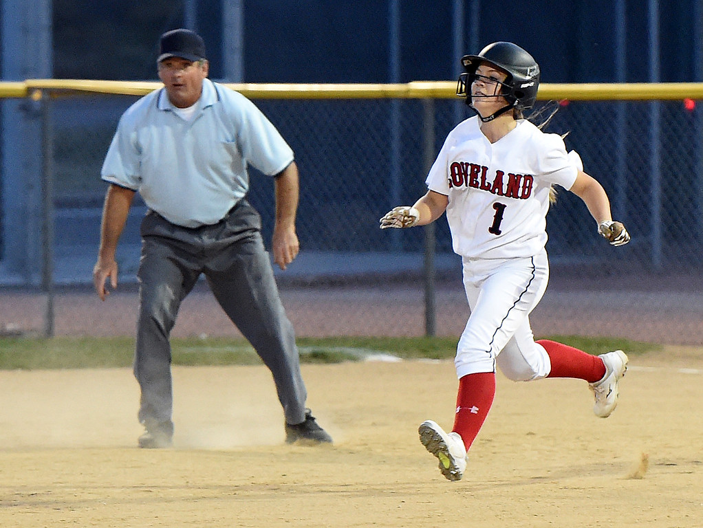 . Loveland High\'s (1) Bri Mowry runs to second Tuesday, Sept. 12, 2017,  during their game against Thompson Valley at Centennial Park in Loveland.  (Photo by Jenny Sparks/Loveland Reporter-Herald)