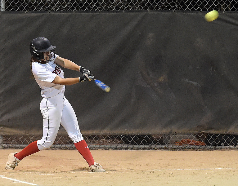 Loveland High's (16) Laurin Krings hits a homerun Tuesday, Sept. 12, 2017,  during their game against Thompson Valley at Centennial Park in Loveland.  (Photo by Jenny Sparks/Loveland Reporter-Herald)