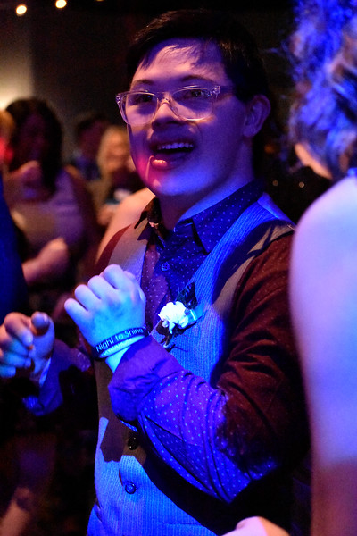 Mitchell Pflieger of Windsor dances the night away during Night to Shine at Foundations Church in Loveland. Night to Shine is a special event to give people with disabilities a chance to experience a dance social. Photo by Thieng Mai/Loveland Reporter-Herald.